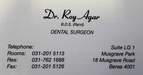 Dr Roy Agar - Dentist/Dental Surgeon - Berea - Durban